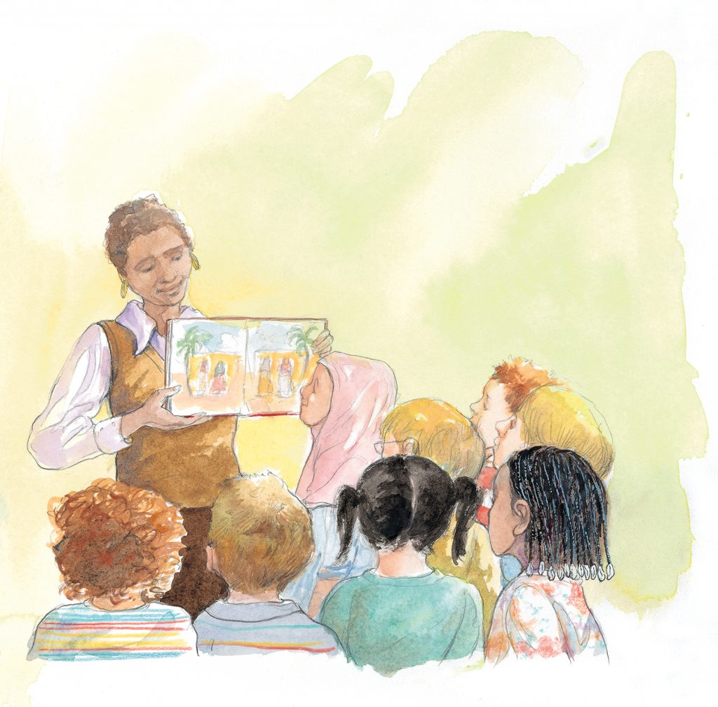 Image depicts a teacher showing an illustrated book to a group of young students.